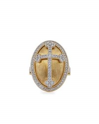 Jude Frances 18K Yellow Gold And Rhodium Diamond Cross Ring Size 6.5