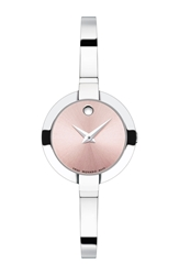 Movado 'Bela' Bangle Watch 25Mm Silver Pink