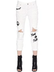 Dsquared Glam Head Destroyed Stretch Denim Jeans
