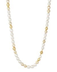 Golden And White Opera Pearl Necklace With Diamond Clasp Belpearl