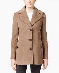 Calvin Klein Wool Cashmere Blend Single Breasted Peacoat Oatmeal