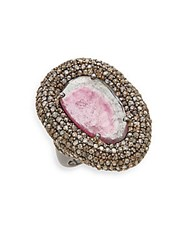 Bavna Watermelon Tourmaline Champagne Diamond And Sterling Silver Dome Ring Silver Pink