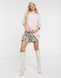 River Island High Neck Tunic Sweater In Pink