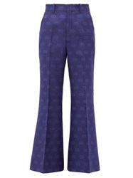 Gucci Gg Jacquard Wool Blend Kick Flare Trousers Blue