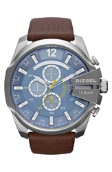 Diesel 'Mega Chief' Leather Strap Watch 51Mm Chocolate Silver