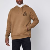 River Island Tan Triangle Chest Print Hoodie