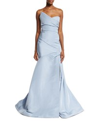 Monique Lhuillier Strapless Silk Faille Trumpet Gown Sky