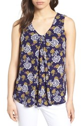 Bobeau Pleat Front Floral Print Tank Navy Yellow Floral