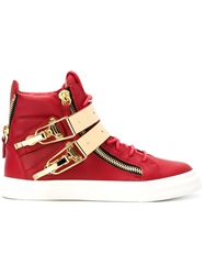 Giuseppe Zanotti Design Zip Detail Hi Top Sneakers Red
