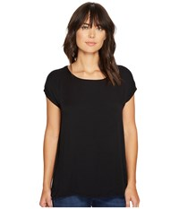 Allen Allen Short Sleeve Square Top Black Women's Short Sleeve Pullover