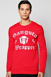 Boohoo Gangsta Wrapper Christmas Jumper Red