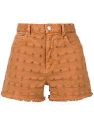 Etoile Isabel Marant Embroidered Denim Shorts Brown
