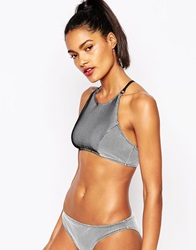 Evil Twin Contrasting Net And Lycra Mix Crop Bikini Top Grey