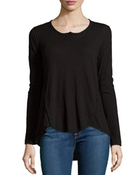 W By Wilt Shrunken Long Sleeve Henley Black