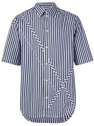 3.1 Phillip Lim Striped X Detail Shirt Blue