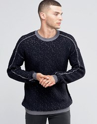 Sisley Crew Neck Jumper With Reverse Stitch And Contrast Seam Charcoal 902 Grey