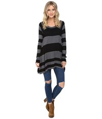 Brigitte Bailey Striped Swing Pullover Black Heather Grey Women's Clothing