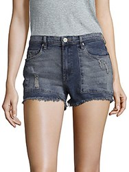 Blank Nyc Distressed Denim Shorts Blue Rough Patch