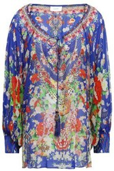 Camilla Woman Tasseled Printed Silk Blouse Bright Blue