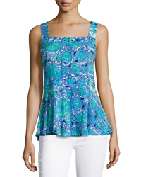 Plenty By Tracy Reese Printed Back Tie Tank Sea Blue Magic Carpet