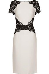 Reem Acra Corded Lace Trimmed Silk Crepe Dress Multicolor