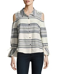 Splendid Striped Cold Shoulder Bell Sleeve Shirt White