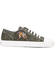 Roberto Cavalli Embroidered 'Leo' Camouflage Sneakers Green