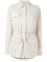 Vince Lambskin Flap Pocket Jacket Nude And Neutrals