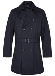 Oscar Jacobson Star Navy Cotton Blend Trench Coat