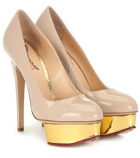 Charlotte Olympia Dolly Patent Leather Plateau Pumps Beige