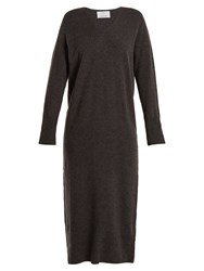 Allude V Neck Wool And Cashmere Blend Knit Dress Grey
