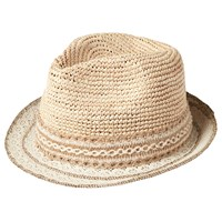 Fat Face Lace Brim Trilby Straw Hat Natural