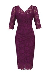Jolie Moi 3 4 Sleeve V Neck Ruched Lace Dress Berry