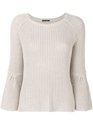 Luisa Cerano Ribbed Embellished Sleeve Sweater Nude And Neutrals