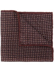 Canali Check Pattern Silk Handkerchief Brown