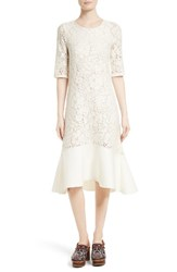 See By Chloe Women's Lace Flounce Hem Dress Natural White