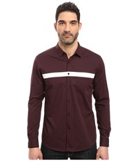 7 Diamonds Silver Linings Long Sleeve Shirt Maroon Men's Long Sleeve Button Up Red