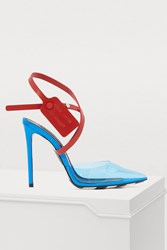 Off White Zip Tie Mules Blue