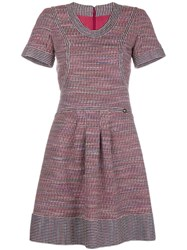 Chanel Vintage Tweed Short Sleeved Dress Red