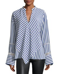 Derek Lam Lace Inset Striped Silk Blouse W Handkerchief Hem Blue Pattern
