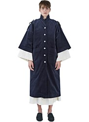 Renli Su Long Oversized Corduroy Coat Navy