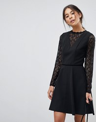 Oasis Lace Skater Dress Black
