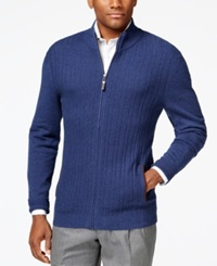 Tasso Elba Ribbed Full Zip Sweater Only At Macy's Navy Heather