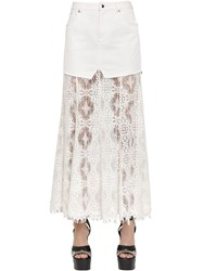 Mcq By Alexander Mcqueen Long Lace And Cotton Denim Skirt
