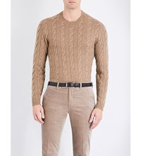 Ralph Lauren Purple Label Cable Knit Cashmere Jumper Bronze Melange