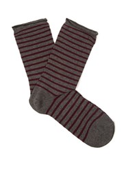 Falke Striped Cotton Blend Socks Dark Grey