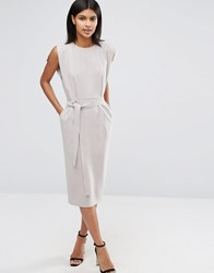 Asos Belted Midi Dress With Split Cap Sleeve And Pencil Skirt Grey