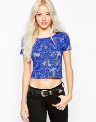 Glamorous Short Sleeve Lace Crop Top Bluelace