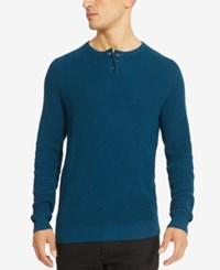 Kenneth Cole Reaction Men's Henley Sweater Persian Blue