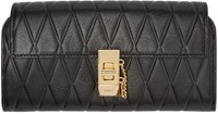 Chloe Black Quilted Long Drew Wallet